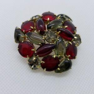 Ruby Red Cabochon Brooch